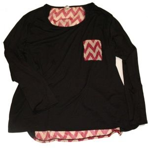 Black with Pink and Tan Chevron Detail Top